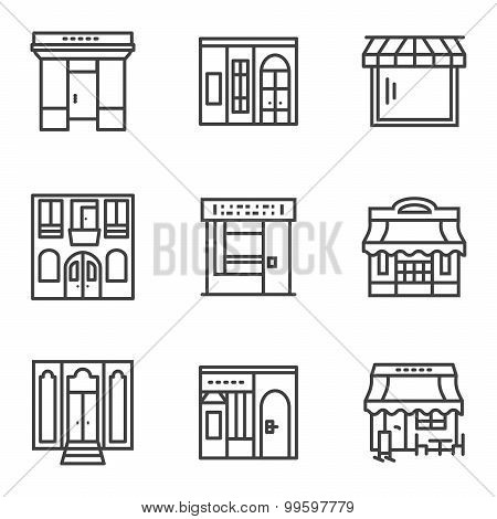 Building facade simple line vector icons