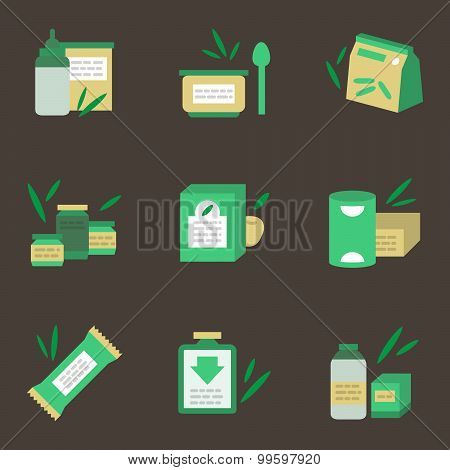 Baby nutrition flat color vector icons
