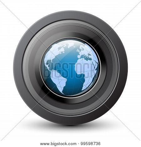 Camera Lens Icon With Globe Inside