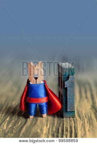 Leader Concept. Clothespin Superhero Nimber One. 1