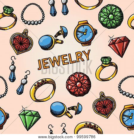 Seamless jewelry handdrawn pattern with- rings, diamonds, watch, earrings, pendant, cuff links, neck