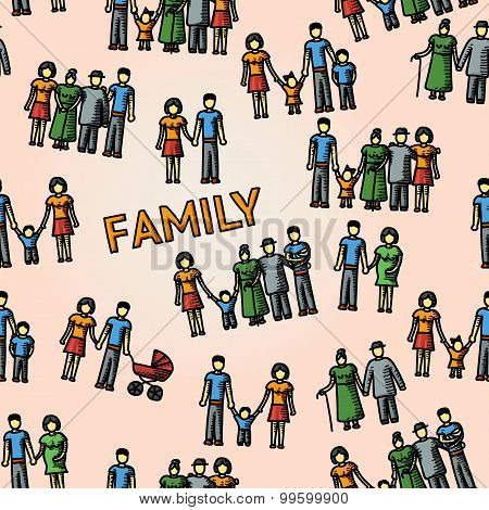 Multigenerational family freehand pattern with all ages members. Vector