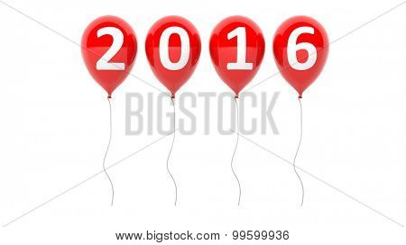 Red balloons with 2016 text isolated on white background