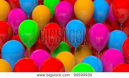 Closeup of a bunch colorful balloons