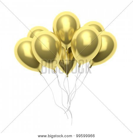 Group of golden blank balloons isolated on white background