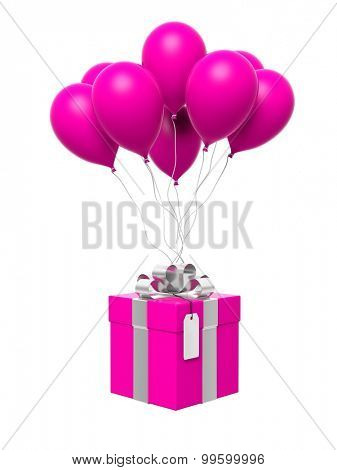 Group of pink blank balloons with gift box attached isolated