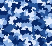 Постер, плакат: Blue Camouflage Seamless Pattern