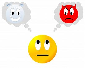 stock photo of angry smiley  - Yellow neutral smiley hesitating between angel and devil - JPG