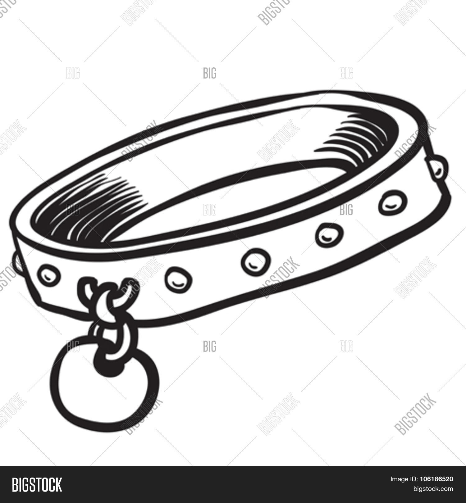 simple black and white dog collar cartoon stock vector