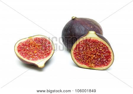 Ripe Figs Close-up Isolated On White Background