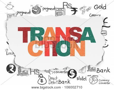 Currency concept: Transaction on Torn Paper background