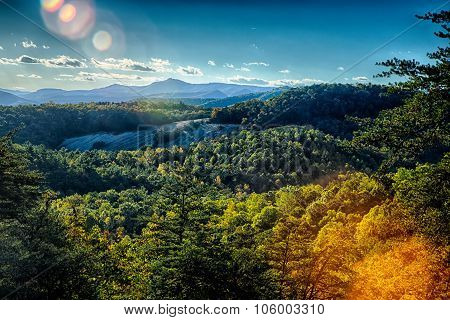 Stone Mountain North Carolina Scenery During Autumn Season