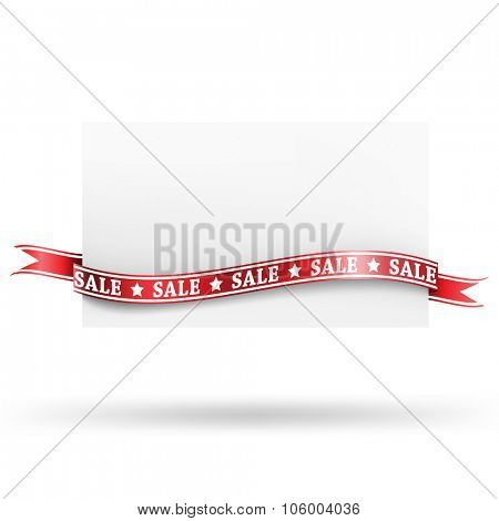 Blank sale tag with ribbons. Vector illustration