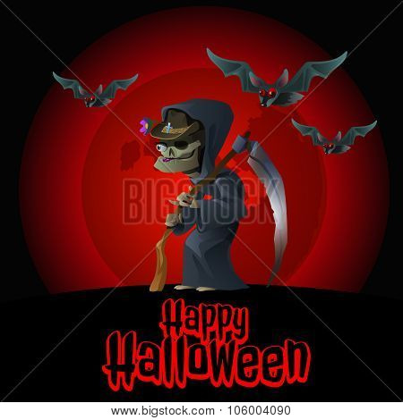 The image of death on a red background and bats