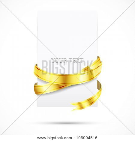 blank paper with shine gold ribbon