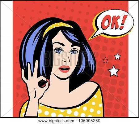 Girl with OK Speech Bubble in Popart Style. Vector Illustration