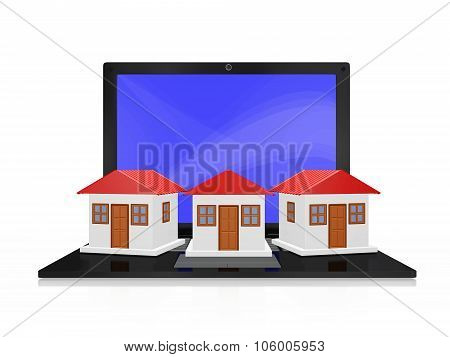 Row Of Houses On Laptop Computer