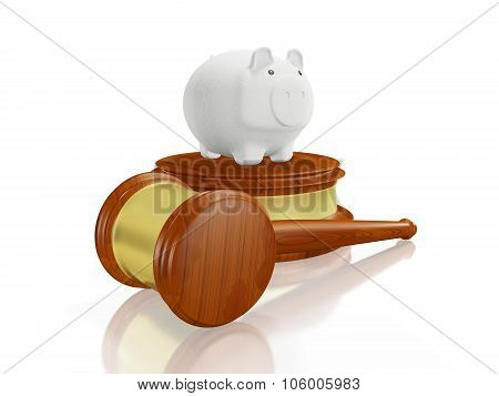 Savings Piggy Bank And Judge Gavel Mallet