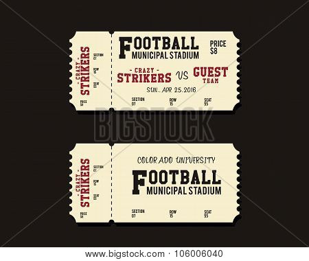 American Football, Rugby or Soccer Ticket Card Retro design. University championship game. Vintage s