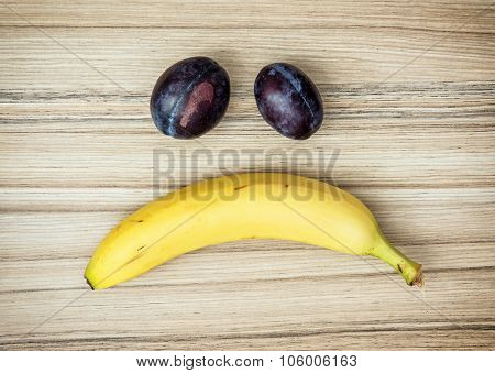 Sad Face Of Banana And Plums, Emotions, Fruit Theme