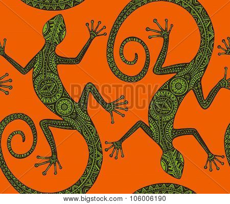 Vector Hand Drawn Seamless Pattern With Monochrome Lizard Or Salamander