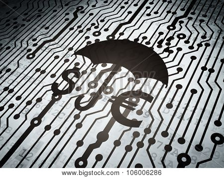 Privacy concept: circuit board with Money And Umbrella