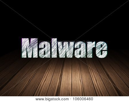 Privacy concept: Malware in grunge dark room