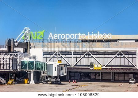Airport Lisbon After Landing - Window View Of Tower / Main Gate