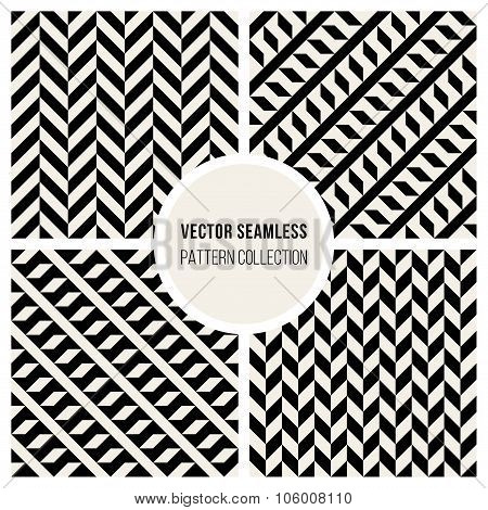 Vector Seamless Black And White Geometric Pattern Collection