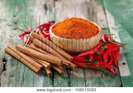 Cinnamon Sticks  Chili And  Turmeric On Wooden