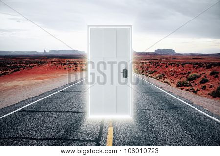 Door On The Road To A Parallel World With A Glow
