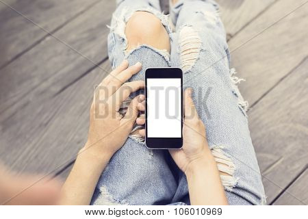 Hipster Girl With Blank Cell Phone, Mock Up