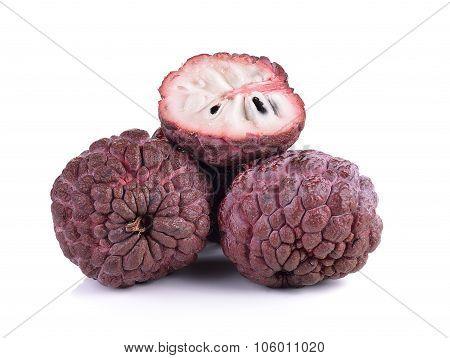 Purple Custard Apple On White Background