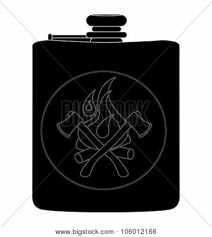 Drinking stainless steel flask. Black