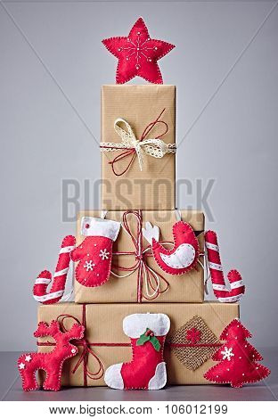 Gift boxes handcraft stack,like fir tree.Christmas