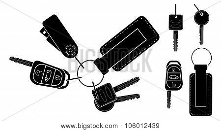 Set of realistic keys. Black