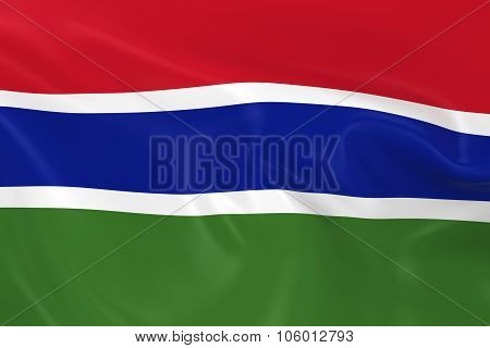 Waving Flag Of Gambia - 3D Render Of The Gambian Flag With Silky Texture