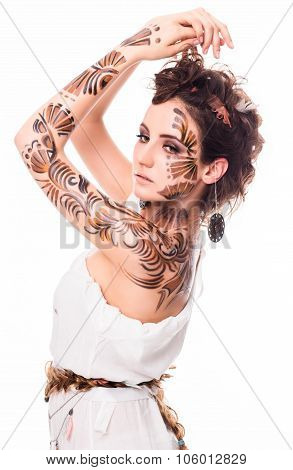 Beautiful lady demonstrating her bodyart