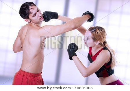 Martial Art. Self-defense Woman Training.