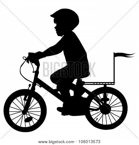 A Boy Rides A Bicycle With Flag