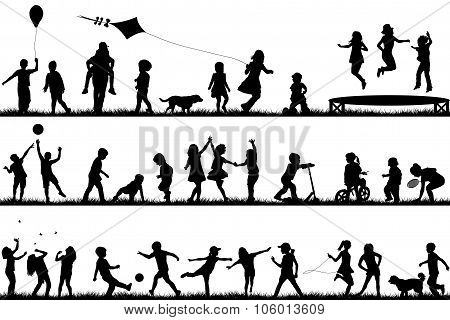Children Silhouettes Playing Outdoor