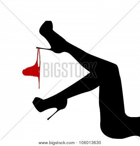 Women's Leg With Panties Hanging On It
