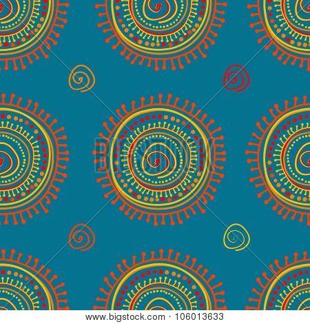 Tribal Stylized Sun Ornament Seamless Pattern
