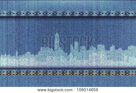 New York Cityscape On Blue Jeans Background