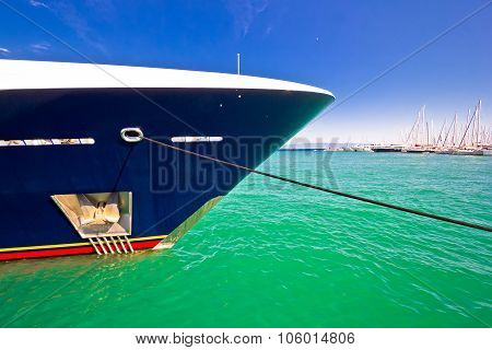 Luxury Yacht Prow View On Colorful Sea