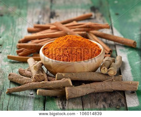 Licorice Roots Cinnamon Sticks And Turmeric On Wooden
