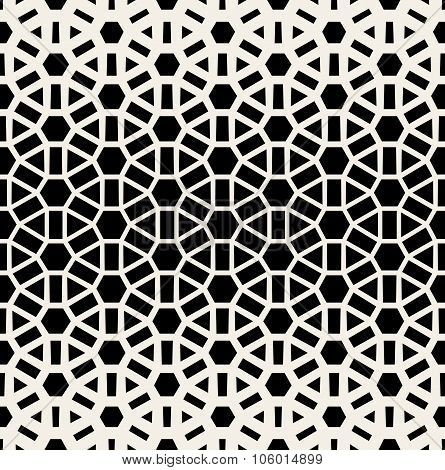 Vector Seamless Black & White Geometric Grid Halftone Pattern
