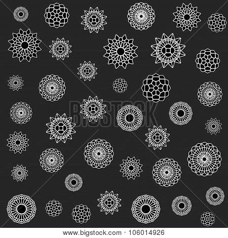 Vector Seamless Black And White Jumble Flower Ornament Pattern
