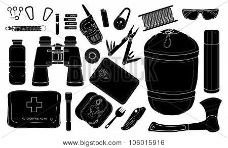 Set of survival camping equipment. Silhouettes