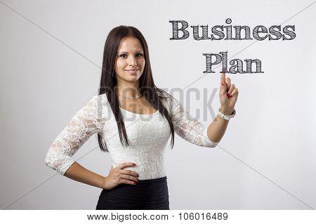 Business Plan - Beautiful Girl Touching Words